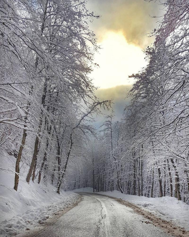 Beautiful winter road of asalem , talesh gilan