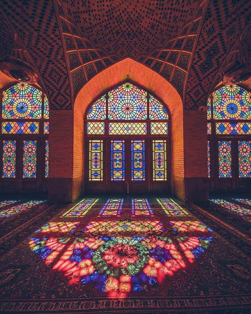 Travel to see facinating lights and shadows of Pink Mosque or Masjede Sorati ( nasir al mulk ) in Shiraz historical city