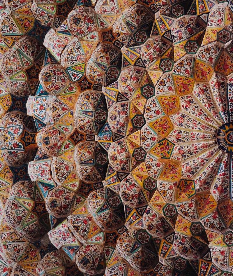 Travel to See Beautiful architecture of roof of Vakil Mosque in Shiraz Iran
