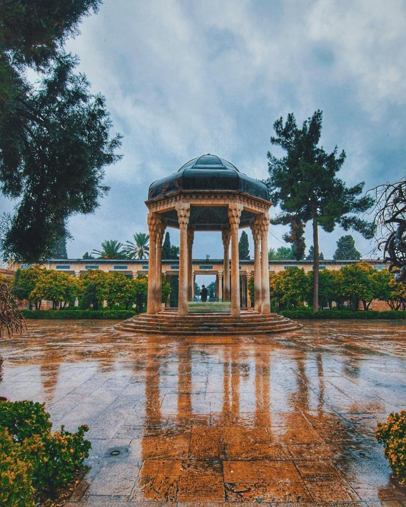Travel to Hafez tomb the great poet of Shiraz in Iran