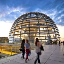 The Reichstag dome is a glass dome , constructed on top of the rebuilt Reichstag building in Berlin