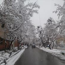 Vali asr street in snowy day
