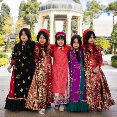Beautiful Ghashghaei girls with traditional clodth in Hafez tomb of Shiraz Iran