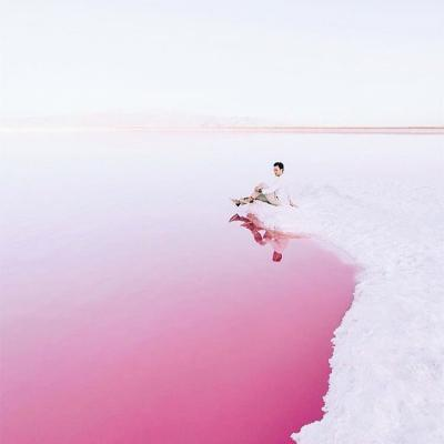 Maharloo pink lake in Shiraz , Iran
